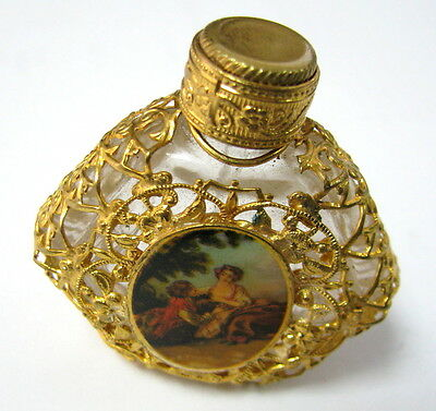 Vintage Empty Glass Perfume Bottle Floral Metal Ornate Decorated Love Picture >>