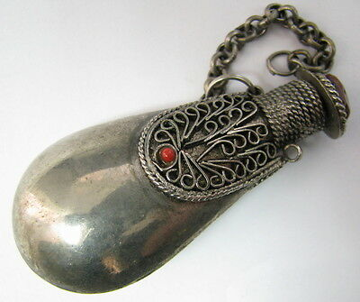 Beautiful Vintage Empty Perfume Bottle Metal Ornate Container Stone Decorated >>