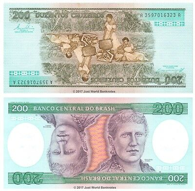 Brazil 200 Cruzeiros ND (1984) P-199b Mint UNC Uncirculated Banknotes