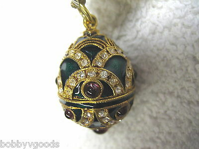 Hand Decorated Faberge Green Enamel Purple Stones Egg Swarovski Crystal Pendant