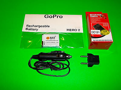 GOPRO HERO 2 OUTDOOR MOTORSPORT EDITION HD CAMERA BATTERY WALL CHARGER & ADAPTER