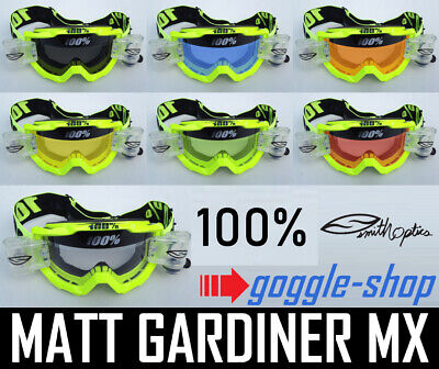 100% PERCENT ACCURI MX MOTOCROSS GOGGLES YELLOW with SMITH ROLL OFF TVS BIKE NEW