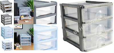 Plastic Storage Drawer Unit Cabinet 2,3,4,6Tier Organizer Bedroom Office Drawers
