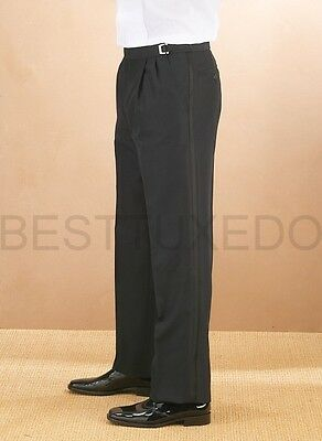 Adjustable waist Pleated front Men's Tuxedo Pants. Sizes from 28 to 64
