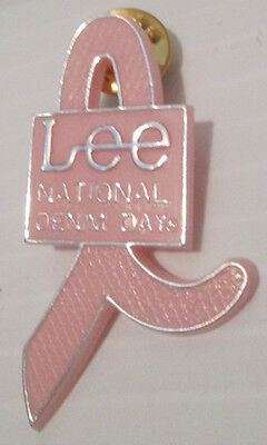 Lee Denim Day Blue Jeans Pink Ribbon Breast Cancer Awareness Pinback Button Pin