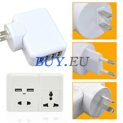 2A 4 Ports USB Travel Charger AC Adapter AU/EU/US Plug/Wall Power outlet Socket