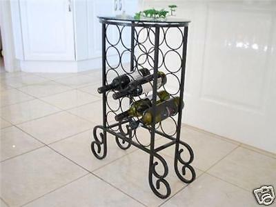 Handmade Iron Elegant  Wine Rack Storage Console Round Glass Top 002