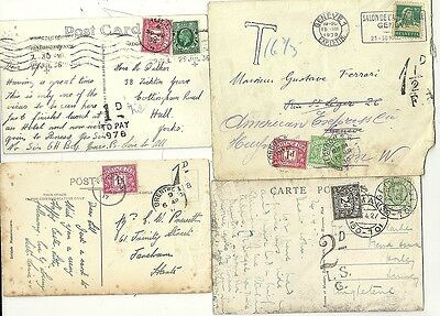 # 1917/36  4 x GB POSTAGE DUE COVERS & CARDS 2 FROM EUROPE SWITZERLAND & ITALY