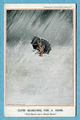 P8282 Heath Robinson postcard, Black cupid in the snow, Cupid searching home