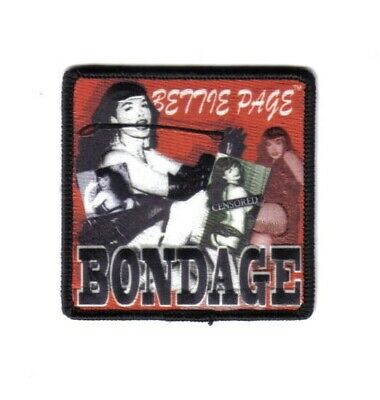 Bettie Page Bondage Collage Embroidered Patch, NEW UNUSED