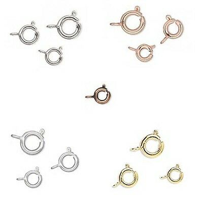 Wholesale Lot of 100 Round Spring Ring Lever Clasps With Open Loop Small - Big