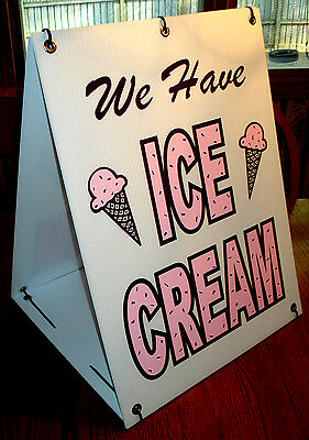 We Have ICE CREAM 2-Sided Sandwich Board Sign Kit NEW Chocolate Cherry
