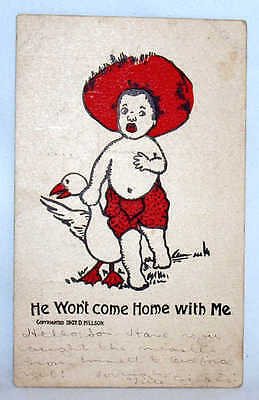 1907 Dated Black Americana Post Card Black Boy With Goose Free Shipping!