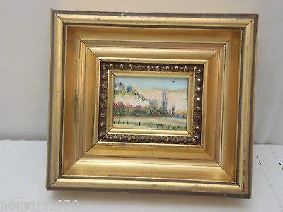 Beautiful Miniature Oil Painting In Deep Gold Frame - Dollhouse Or Decor
