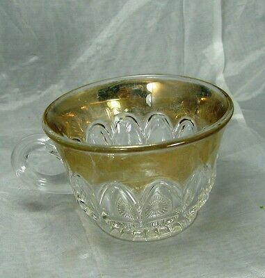 """EAPG - Ripley Glass """"Arched Ovals"""" or """"Almond Thumbprint"""" Gilded Cup - Free S/H"""