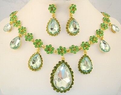 18k gold p necklace set green crystal & bead floral teardrop vintage style FIOJ