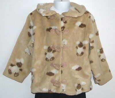 Designer CHICKEEDUCK Faux Fur Girls Jacket Beige Cream Bunny Coat Age 4