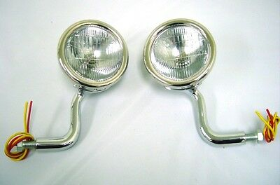 1928 1929 Ford Model A Stainless Cowl Lamps Lights w Turn Signals 12 Volt PAIR