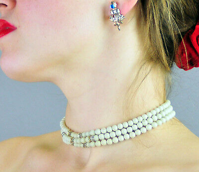 Z94 VTG Multi Strand Old Crystal Spacers 40s 50s Choker Celluloid necklace