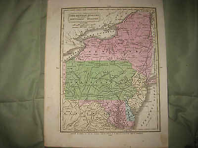 Fine Antique 1831 New York Jersey Pennsylvania Maryland Delaware Handcolored Map