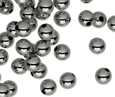 144 Black Oxide Plated Brass Smooth Metal Round Beads   / 3mm  *
