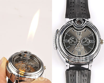 Novelty fashion wrist Watch Refillable Butane Gas Cigarette Cigar Lighter silver