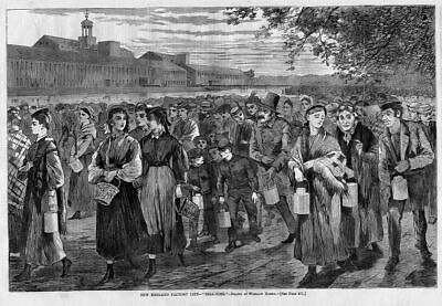 Winslow Homer, New England Factory Life, Bell Time, 1868 Antique Homer Engraving
