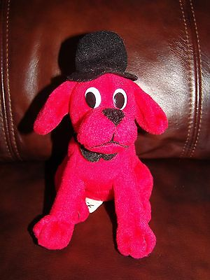 """Scholastic Clifford the Big Red Dog w/ Hat and Bowtie Plush Beanie Doll 6 1/2"""""""