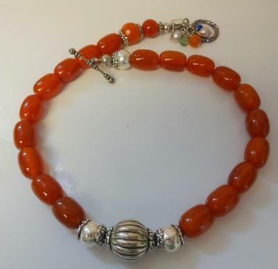 Vintage Signed Melamari Chinese Natural Carnelian Fresh Water Pearls Necklace