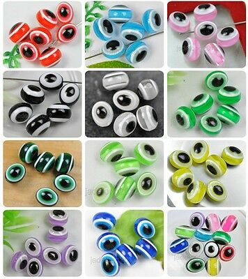 Wholesale 55/110PCS Charm Acrylic Evil Eye Oval Resin Spacer Beads 10X8MM