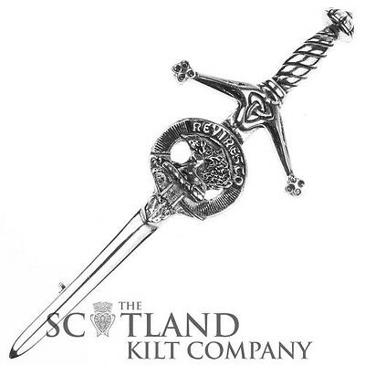 Mens Scottish Made Maxwell Clan Crested Boxed Silver Kilt Pin by Art Pewter