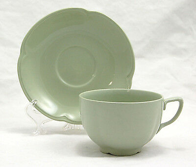 Johnson Brothers GREENDAWN Flat Cup and Saucer Set 2.375 in. Darker Green