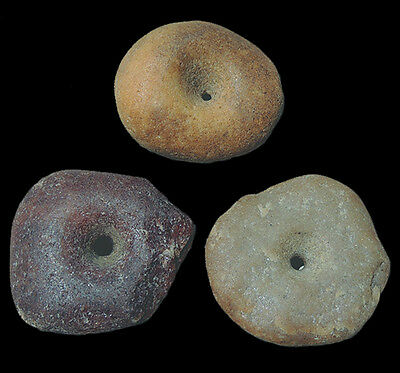 3 large superb ancient neolithic agate stone beads mali sub sahara #117