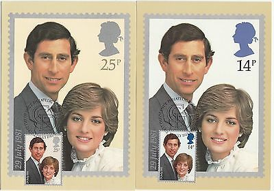 (20587) Princess Diana Wedding First Day of Issue 1981 PHQ Postcards (Maxicards)