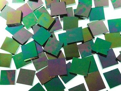 BLACK OPAL IRIDESCENT handcut stained glass mosaic tiles #193