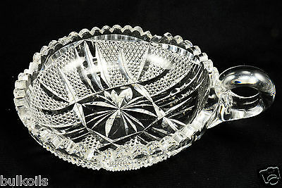 old vintage glass candy or nut dish with handle pressed cut Diamond Cutting Etch