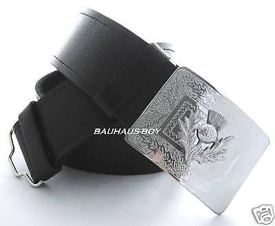 KILT BLACK LEATHER BELT & THISTLE BUCKLE CHROME FINISH size SMALL FOR KILTS NEW