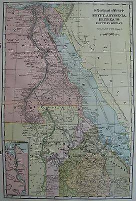 Antique EGYPT Eritrea and ABYSSINIA  Map  BEAUTIFUL 1901 Vintage Atlas Map