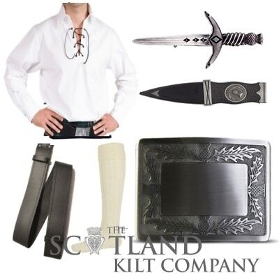 Mens 6 Piece White Ghillie Shirt Package inc Thistle Antique Finish Kilt Buckle