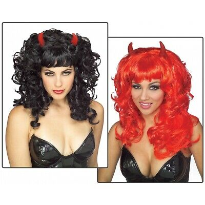 Fabulous Devil Wig Black with Red Horns Costume Accessory Adult Halloween