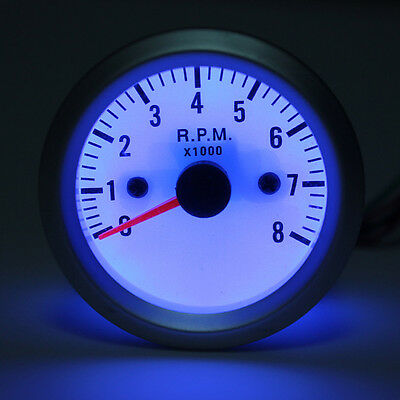 """52mm 2"""" Rev Counter Tacho Tachometer Gauge With White Face Blue LED 0-8000 RPM"""