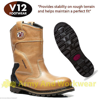 V12 Tomahawk Waterproof Leather Rigger Work Boots Safety Steel Toecap & Midsole