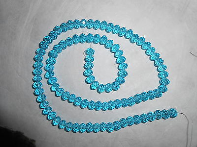 100 faceted AQUAMARINE BLUE CRYSTAL GLASS BEADS approx. 6mm x 4mm RONDELLE