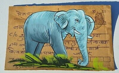 Lovely Old Rajasthan Miniature Painted Indian Postcard Of A  Elephant No50
