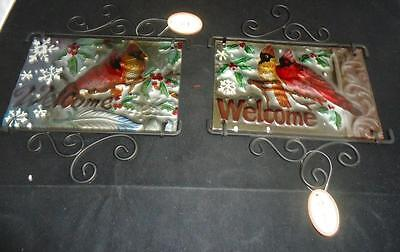 Red Cardinal Birds Fused Glass 2 Welcome Wall Hangings Indoor Outdoor NWT