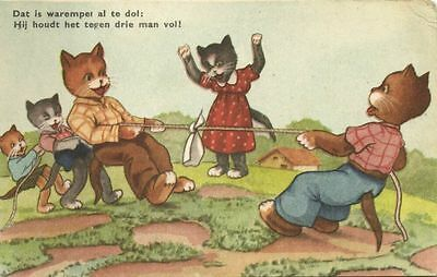 Dressed CATS in a Tug of War (1950s)