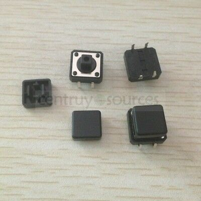 5-set Tactile Push Button Switch Momentary Tact 12x12x7.3 with black caps