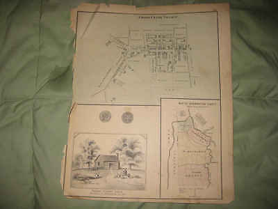 ANTIQUE 1876 CROSS CREEK WASHINGTON BEAVER ALLEGHENY COUNTY PENNSYLVANIA MAP NR
