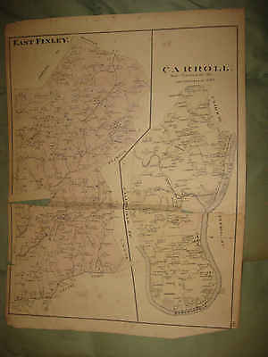 ANTIQUE 1876 EAST FINLEY CARROLL TOWNSHIP WASHINGTON COUNTY PENNSYLVANIA MAP NR