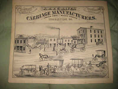 ANTIQUE 1876 WASHINGTON COUNTY HORSE CARRIAGE EQUESTRIAN PENNSYLVANIA PRINT NR